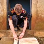 Our partner John working on making soap molds