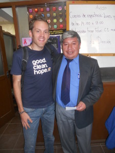 Principal Freddy and SoapBox Soaps representative, Aaron Faust, at the school in Tiquipaya, Bolivia.